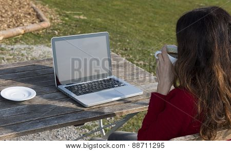 Woman Drinking Coffee And Surfing On Internet At A Restaurant