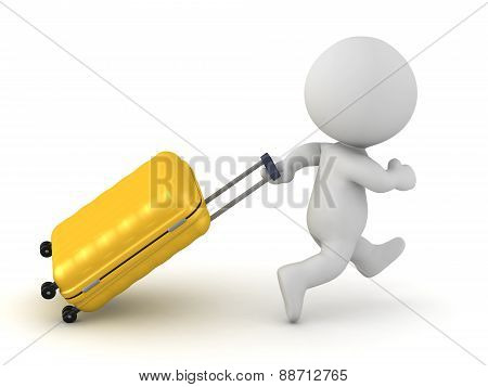 3D Character Running with Travel Trolley