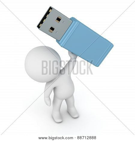 3D Character Holding USB Stick
