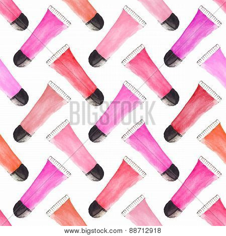 Seamless watercolor pattern with beauty items on the white background, aquarelle lipgloss.  Vector i