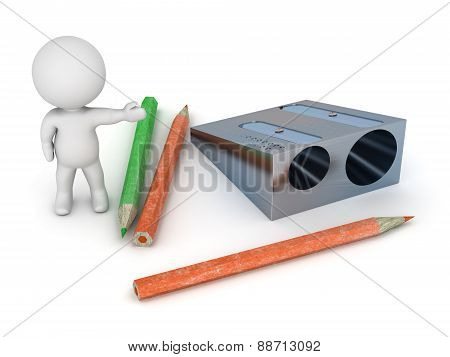 3D Character Showing Pencil And Pencil Sharpener