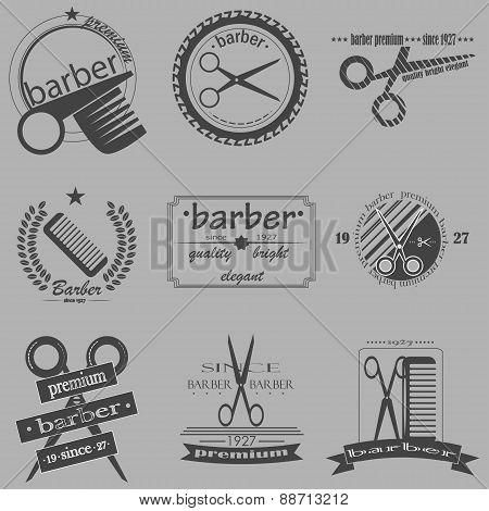 Set Of Vintage Barber Shop Logo, Labels, Badges And Design Element.
