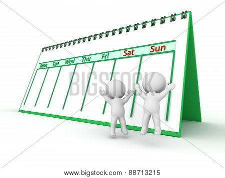 3D Characters Celebrating Weekend Days With Calendar Behind Them, Isolated On White
