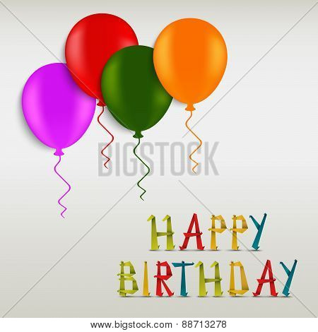 Birthday Greeting Colored Card Template