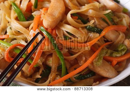 Delicious Food: Fried Noodles With Chicken And Vegetables Macro