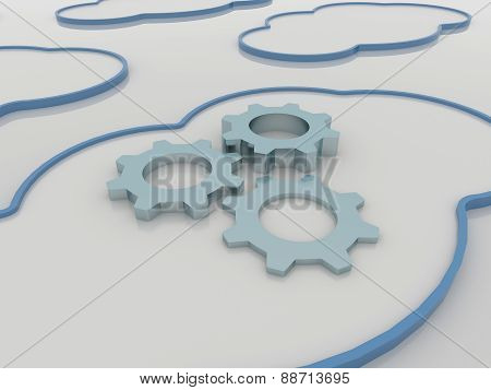 Cloud Computing Concept Background With Cogwheels