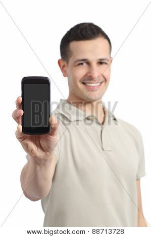 Handsome Man Showing A Blank Smart Phone Display
