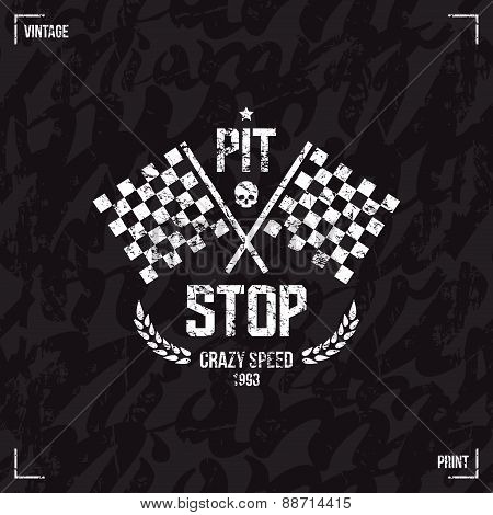 Pit Stop Emblem And Seamless Pattern