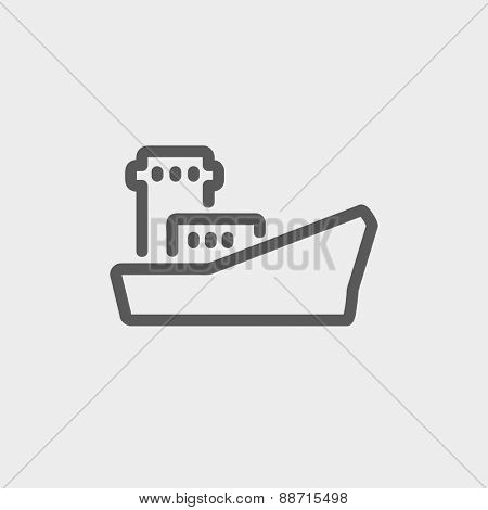 Cargo container ship icon thin line for web and mobile, modern minimalistic flat design. Vector dark grey icon on light grey background.