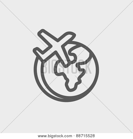 Airplane flying around the world icon thin line for web and mobile, modern minimalistic flat design. Vector dark grey icon on light grey background.