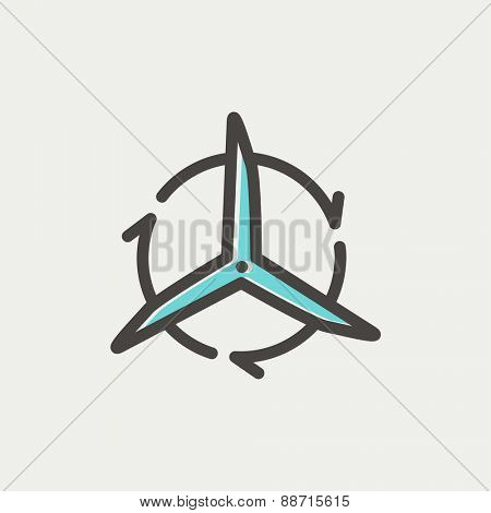 Windmill with arrows icon thin line for web and mobile, modern minimalistic flat design. Vector icon with dark grey outline and offset colour on light grey background.