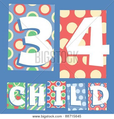 Vector set of cosy countryside children font. Numbers 3 4