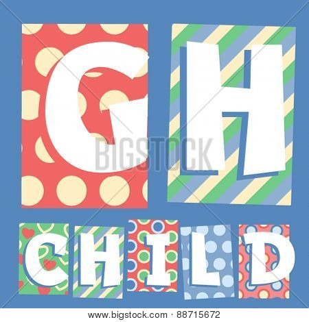 Vector set of cosy countryside children font. Letters G H