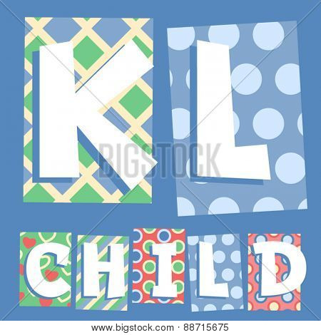 Vector set of cosy countryside children font. Letters K L