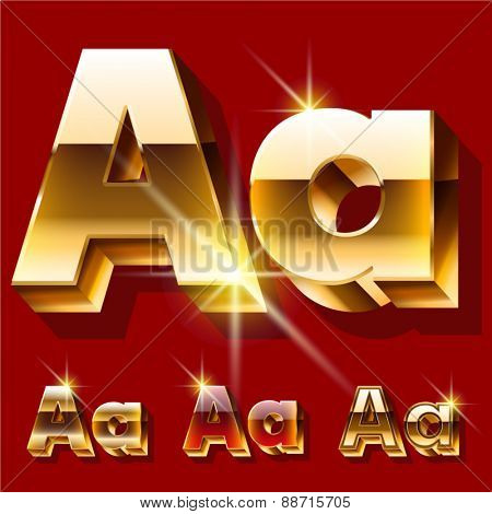 Vector set of deluxe sparkling  gold font. Optional red and gold style. Letter A