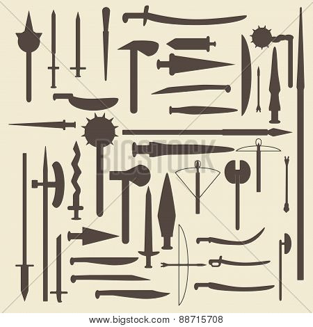 Medieval weaponry silhouette icons set. Perfect for web design vector illustration.
