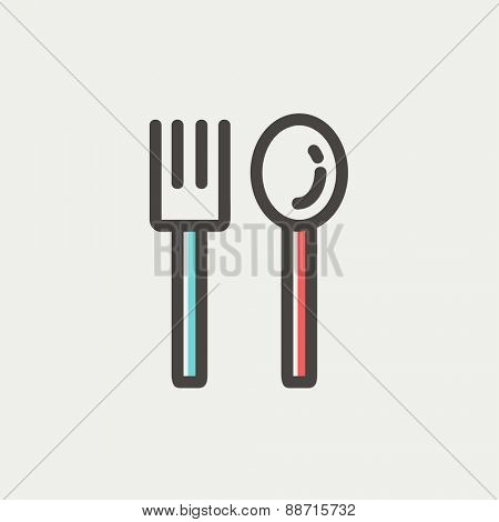 Spoon and fork icon thin line for web and mobile, modern minimalistic flat design. Vector icon with dark grey outline and offset colour on light grey background.