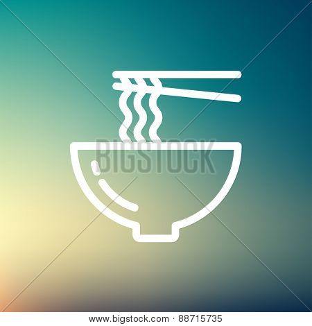 Bowl of noodles with a pair of chopsticks icon thin line for web and mobile, modern minimalistic flat design. Vector white icon on gradient mesh background.