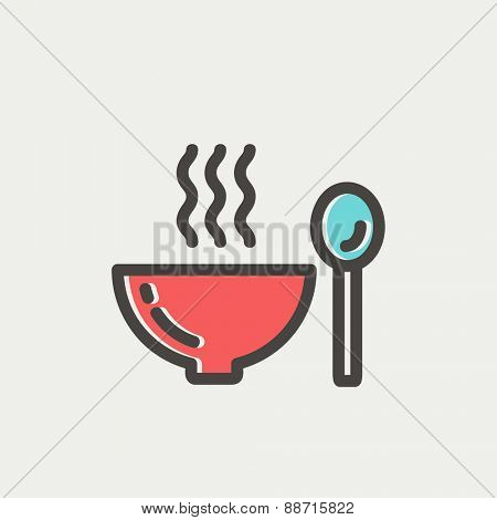 Bowl of hot soup with spoon icon thin line for web and mobile, modern minimalistic flat design. Vector icon with dark grey outline and offset colour on light grey background.