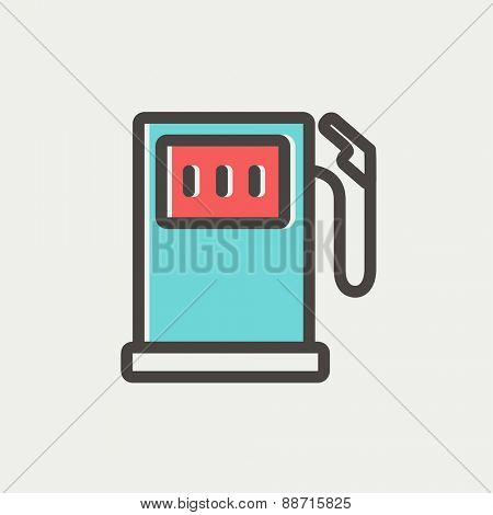 Gasoline pump thin line for web and mobile, modern minimalistic flat design. Vector icon with dark grey outline and offset colour on light grey background.