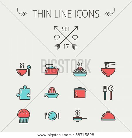 Ecology thin line icon set for web and mobile. Set includes- cupcakes, spoon and fork, plate, kettle, casserole, hot meal, frying pan icons. Modern minimalistic flat design. Vector icon with dark grey