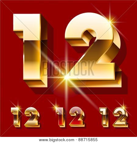 Vector set of deluxe sparkling  gold font. Optional red and gold style. Numbers 1 2
