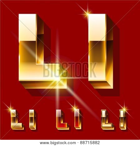 Vector set of deluxe sparkling  gold font. Optional red and gold style. Letter L