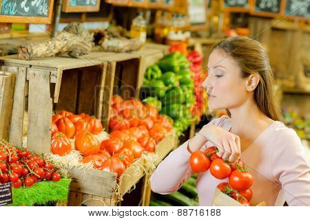 Woman shopping in an organic store