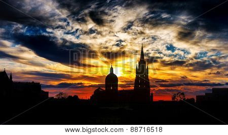 Gozo church on sunset background