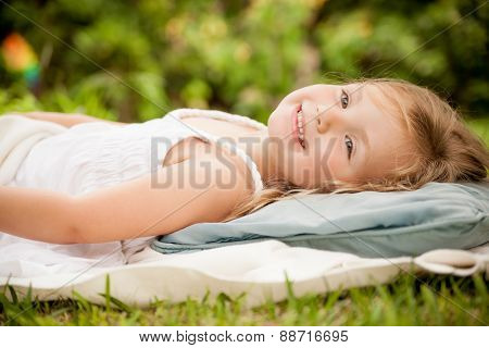 dreaming little cute girl
