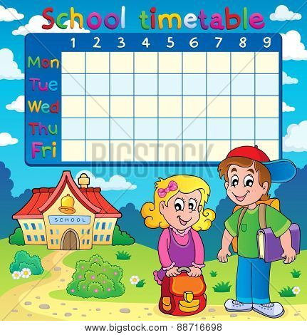 School timetable with two children - eps10 vector illustration.