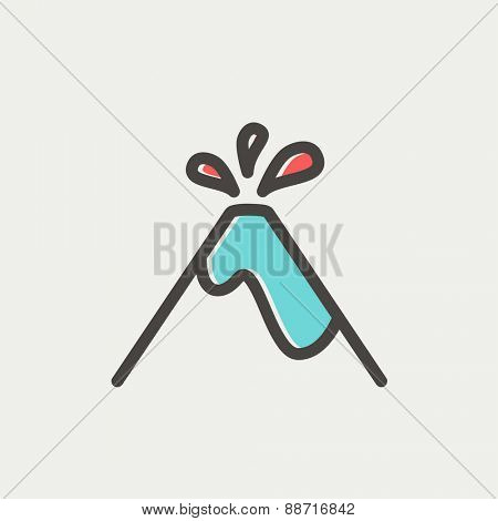 Volcano exploding icon thin line for web and mobile, modern minimalistic flat design. Vector icon with dark grey outline and offset colour on light grey background.