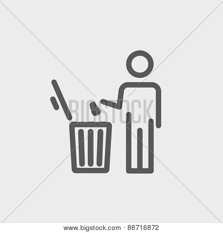 Man throwing garbage in a bin icon thin line for web and mobile, modern minimalistic flat design. Vector dark grey icon on light grey background.