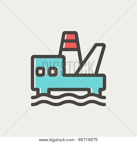Oil platform thin line icon for web and mobile, modern minimalistic flat design. Vector icon with dark grey outline and offset colour on light grey background.