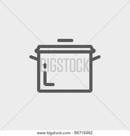 Casserole icon thin line for web and mobile, modern minimalistic flat design. Vector dark grey icon on light grey background.
