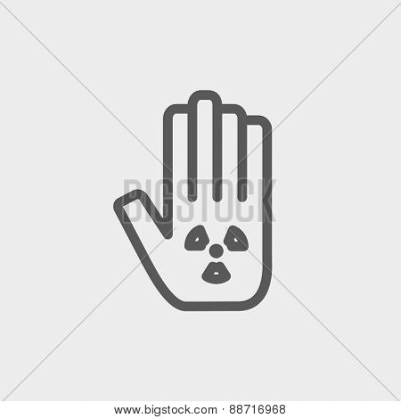 Hand and some object icon thin line for web and mobile, modern minimalistic flat design. Vector dark grey icon on light grey background.