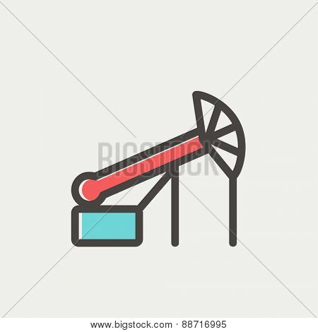 Pump jack oil crane icon thin line for web and mobile, modern minimalistic flat design. Vector icon with dark grey outline and offset colour on light grey background.