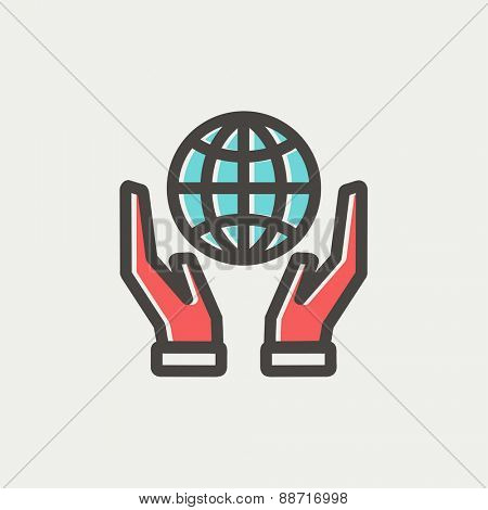 Two hands holding globe icon thin line for web and mobile, modern minimalistic flat design. Vector icon with dark grey outline and offset colour on light grey background.