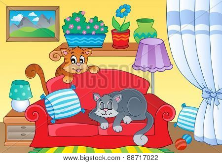 Room with two cats on sofa - eps10 vector illustration.