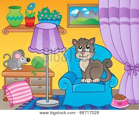 Room with cat on armchair - eps10 vector illustration.