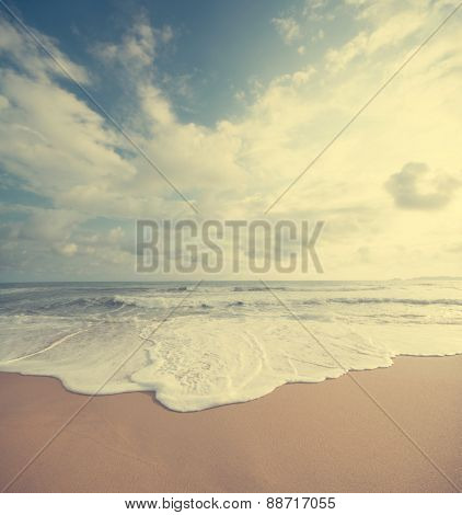 Retro vintage style summer beach sea view with wave, Malaysia