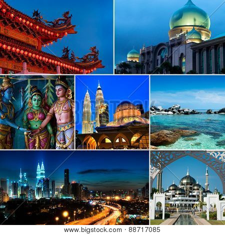 Collage of Malaysia images, Mosques, Chinese temple, Indian temple, landmark and nature. All picture belongs to me.