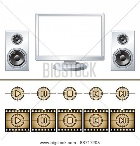 Computer  with speaker isolated. Media buttons 10eps