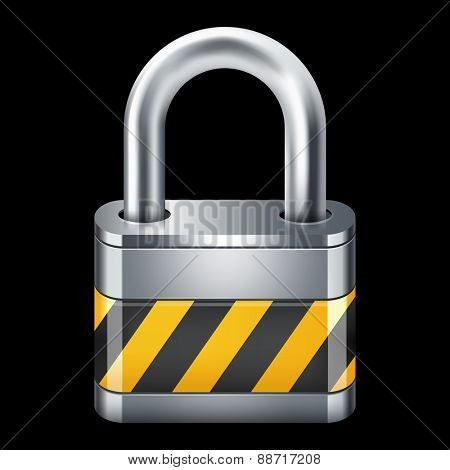 Padlock icon. Isolated on black 10 eps