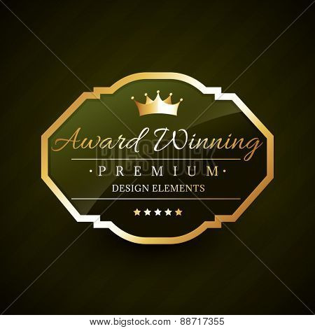 beautiful award winning golden label vector design