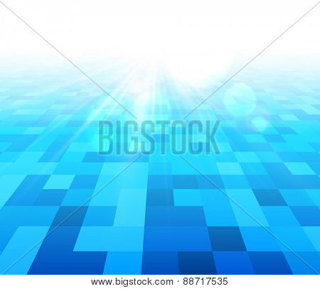 Blue water checkered background. Vector illustration.