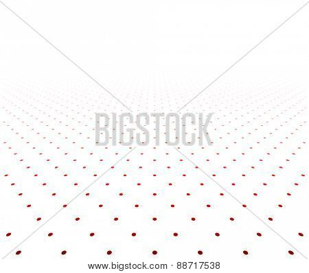 Perspective red and white grid. Surface with circles. Vector illustration.