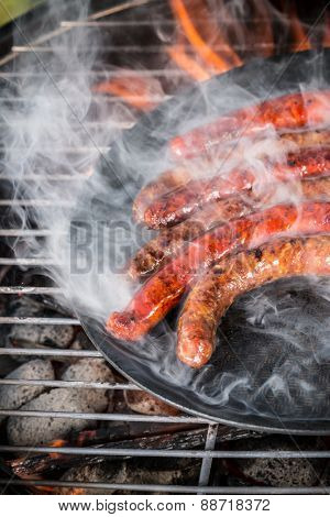 Delicious grilled sausages