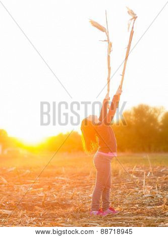 Kid playing with branches of corn in field