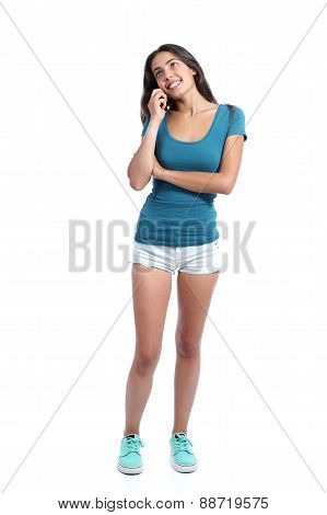 Teen Girl Calling On The Mobile Phone